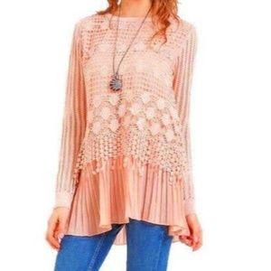Blush Mauve Simply Couture L Top Blouse Lace Tunic